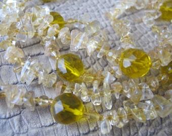Pebble Golden Quartz & Crystal Bead Long Necklace. SUNSHINE. Resort Beach Stone Jewelry. Gemstone Bead Fashion Jewelry. Gold Yellow Amber