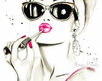 Audrey Hepburn Wall Art Prints, Audrey Hepburn Art, Audrey Hepburn Print, Audrey Hepburn Painting, Audrey Hepburn Decor, Fashion Wall Art