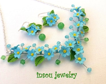 Flower Jewelry, Forget Me Not, Wedding Jewelry, Statement Necklace, Flower Earrings, Spring Jewelry, Light Blue, Gift For Her,Floral Fashion