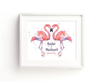 Pink Flamingos Custom Print Flamingo Wedding Print, Costom Engagement Print Two Flamingos Names Date Wedding Art Print Couples Art
