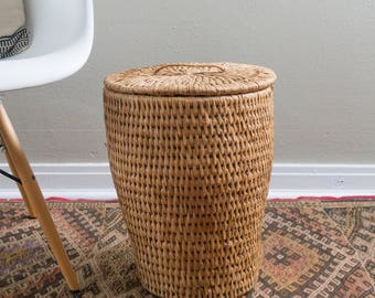 Vintage Tall Straw Basket with Lid