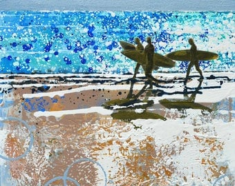 "BLUE PRINT of SURFERS - ""Surf's Up"" by Melanie McDonald - surf decor - surf style - art prints - surfboard - wall art prints - blue print"