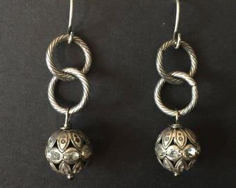 gunmetal and crystal earrings, gunmetal earrings, crystal drop earrings, crystal ball earrings, ball earrings, crystal earrings