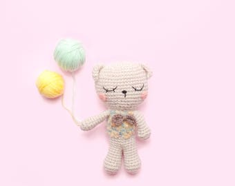 Baby Amigurumi Bear: The Cute Bear Sleeping, crochet bear, crochet toy,baby bear,brown bear, child gift, newborn birth gift.