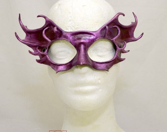 Purple Iridescent Leather Cosplay Fairy Masquerade Fancy Dress Sprite Mask