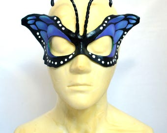 Blue Teal Butterfly Wing Half Mask Masquerade Fancy Dress Original Cosplay Mardi Gras
