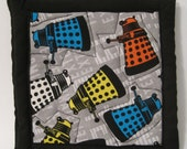 Daleks - Dr Who Pot Holders - Quilted Handmade in Virginia - Hot Pads