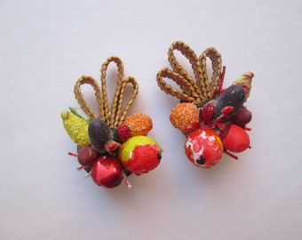 Tutti Frutti Vintage 1940s 40s Novelty Fruit Salad Straw Clip On Earrings -Western Germany-Carmen Miranda-Pinup-Bombshell-Vixen-VLV