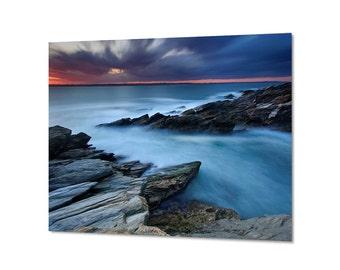 Metal Wall Art Ocean Photography Seascape Photo Beach Sunset Picture Metal Print Large Art Rhode Island Coastal Artwork Teal Aqua Blue Grey