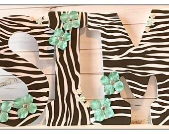 Zebra Nursery. Wood Letters. Baby Girl Nursery. Black and White Nursery. Bedroom wall letters. Flowers. Pink. Animal print. Girls or Teen