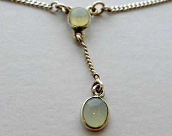 "Vintage Genuine Oval Blue Cabochon Moonstone And Sterling Silver Necklace Adjustable 15 1/2"" To 17 1/2"""
