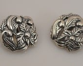 Vintage Carolyn Pollack Relios Sterling Silver Clip On Earrings Floral Flower Button South West