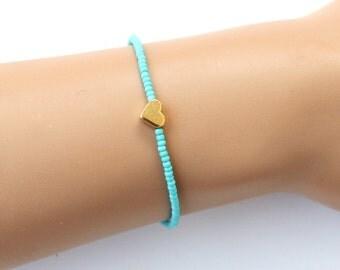 Turquoise beads bracelet, heart bracelet, dainty bracelet, gold heart, beaded bracelet, heart jewelry, best friend gift, birthday gift