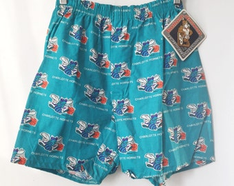 vintage charlotte hornets bottom drawers boxers mens size small