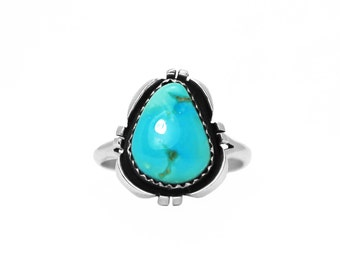 Freeform Castle Dome Turquoise Navajo Ring