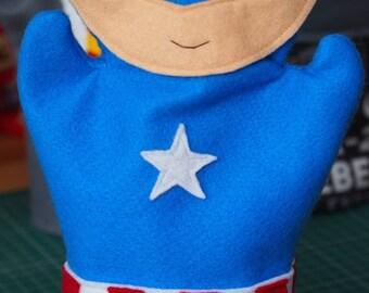 """Captain America Inspired Felt Hand Puppet 28cm/11"""" tall"""