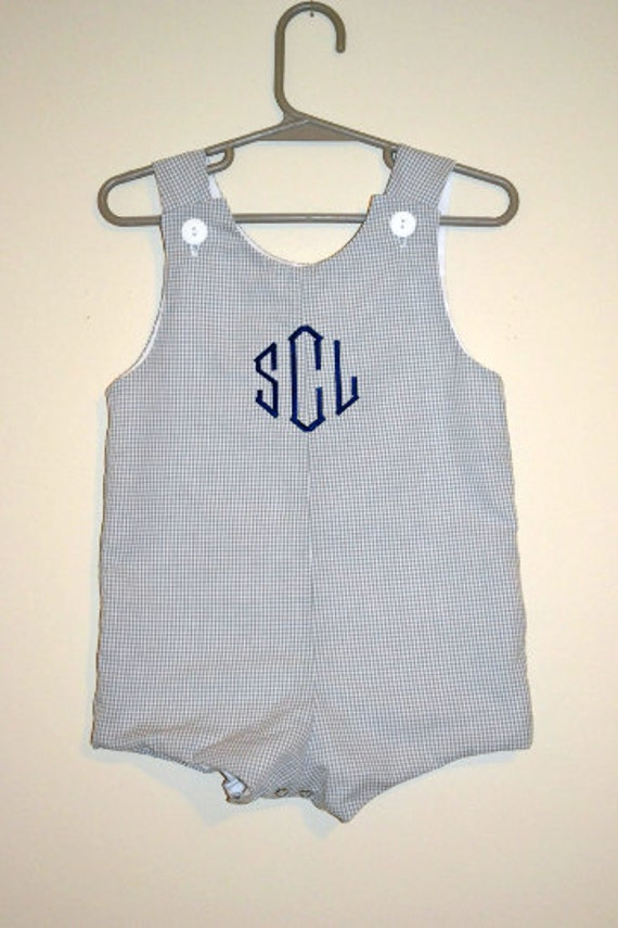 Custom made Personalized Initial Jon Jon,  Gray Gingham Romper