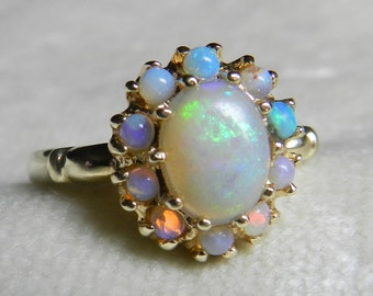 SOLD to M, 3rd of 3 Payments Opal Ring Gold 14K Ring Blue Opal Ring Australian Opal Ring 14K Gold Ring Halo Engagement October Birthstone