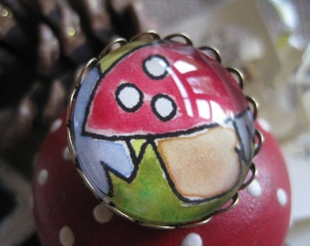 Fairy Toadstool Water Colour Painted Illustrated Round Dome Glass Brooch Badge
