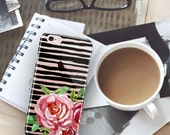 Gift for women, Floral Iphone 7 clear case with design, Transparent Iphone 7 Plus case with stripes, Pink and black, Stripes w roses (1708)