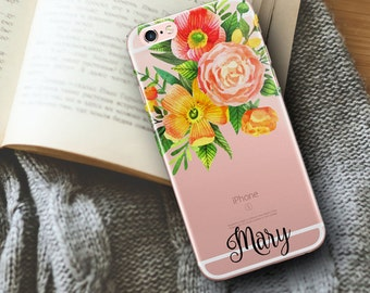 Orange accessory, iPhone 6s Plus case with clear back, Protective iPhone 6s case, Orange pink green floral case, Bride's gift for her (1716)