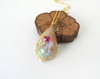 Wire Wrapped Big Rainbow Druzy Stone Pendant Necklace with Butterfly Crystal, OOAK Fancy Themed Jewelry