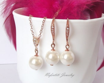 Rose gold and pearl jewelry set, rose gold bridal pearl set, rose gold wedding jewelry set, bridesmaid jewelry, drop pearl bridal jewelry