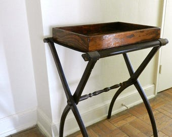 Vintage Luggage Rack & Wooden Tray. Shabby Chic Southern Cottage. Small Space Home Decor