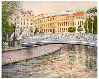 Fine Art Photography Cityscape art print Large wall art landscape city European cities poster, Pastel wall art St Petersburg 12x16, 18x24