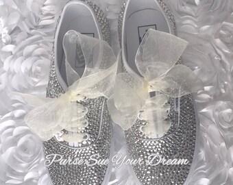 Stunning Swaorvksi Crystal Designed Bridal Vans - Vans Wedding Shoes - Custom Wedding Shoes - Rhinestone Vans
