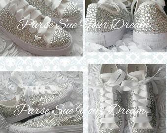 Custom Bridal Converse Wedding Shoes - Swarovski Crystal Wedding Shoes - Rhinestone Converse - Bride Shoes - Swarovski Converse
