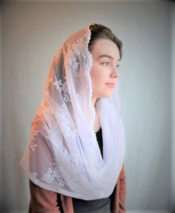 Traditional Catholic Infinity White Catholic Chapel Veil | Catholic Mantilla Veils for Mass Robin Nest Lane Mass Veil for Mass Church Veil