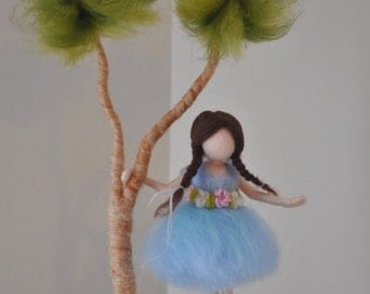 Girls Room Decor  needle felted : Girl  in a branch