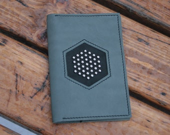 Leather passport cover holder decorated with studs