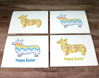 Corgi Easter Card Set, Dog Note Cards, Spring Cards