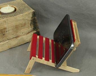 Red cell phone holder, wooden phone stand, popsicle sticks, mini pallet chair, bookshelf decor, office decor, desk accessories, card holder
