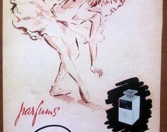 Dana, 1940s, vintage, ad, original, perfume, cosmetics, French, advertisement, ballerina, ballet, free shipping, paper, ephemera