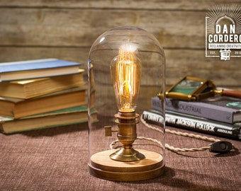 Bell Jar Edison Table Lamp | Desk Lamp | Edison Light | Home Decor | Lighting | Night Light | Edison Bulb | Antique Brass