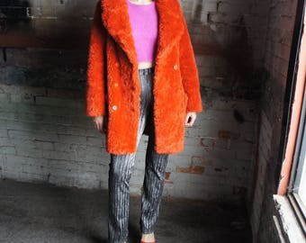PARTY MONSTER 1990's Campy Orange Fun Fur Coat, by Miss Selfridge made in England
