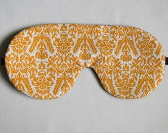 Orange Damask Sleep Mask, Adjustable Strap Sleeping Mask,  Damask Eye Mask for Sleeping