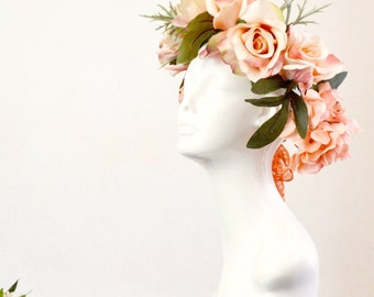 rose crown, boho flower crown, halo headband, bohemian head piece, peach pink roses, ivory rose bridal boho weddings prom festival