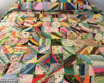 "Fun & Funky! Vintage Kitschy Scrappy Patchwork Quilt / Hand Tied Picnic Blanket 76"" x 90"" Crazy Quilt"