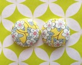 Fabric Covered Button Earrings / Wholesale Jewelry / Yellow Floral / Made in USA / Small Studs / Gifts for Her / Bulk Earrings