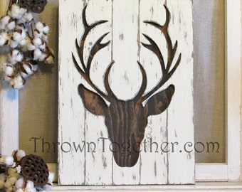 """Rustic Wood Deer Sign, 15"""" x 21"""" Woodland Deer Silhouette Wall Hanging, Hunting Gallery Wall Decor, 3D Wood Sign"""