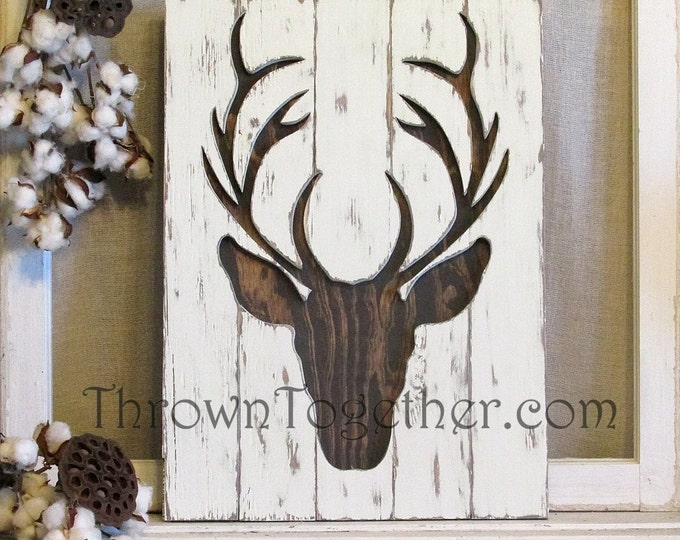 "Rustic Wood Deer Sign, 15"" x 21"" Woodland Deer Silhouette Wall Hanging, Hunting Gallery Wall Decor, 3D Wood Sign"
