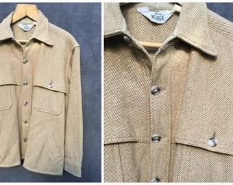 70's Woolrich EST 1830 Straw Tan and White Shirt Wool Shirt Jacket - Men's Size XL