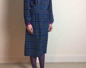 vintage mandarin collar dress | midi dress | teal long sleeve | made in england | D L Barron 1970s