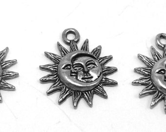 3 Pewter Sun and Moon Charms -0177