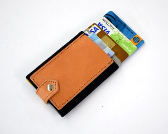 Tan wallet, Stretch, mini wallet, card holder, slim, elastic and leather, minimalist wallet, Credit card wallet, Small and thin wallet
