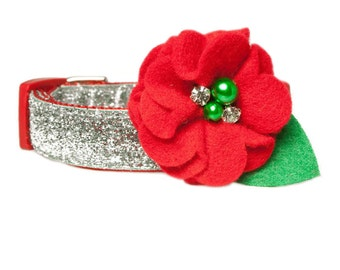 """Red Christmas Flower Accessory for 3/4"""" / 1"""" Dog Collar"""